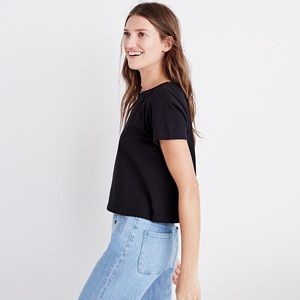 J. Crew Navy Draped Pocket Tee
